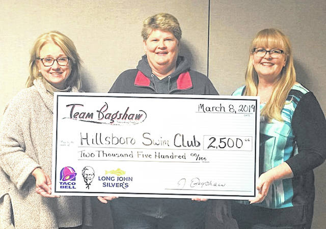 Pictured with the first check for the Hillsboro Swim Club Corporate Sponsorship Campaign, from left, are Jeanine Bagshaw, Team Bagshaw CEO; Joy Seaman, swim club board president; and Kelly Smith, corporate sponsor volunteer.
