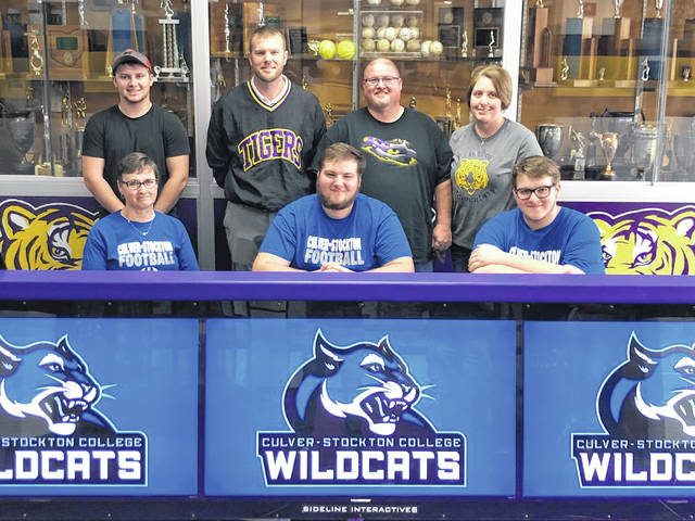 Trevor Tite signed a Letter of Intent on Friday at McClain High School and will be attending Culver-Stockton College an NAIA school located in Canton, Missouri. Pictured front row (l-r): Krista Tite, Trevor Tite and Ryan Tite. Back row (l-r): Tanner Tite, Coach Jake Orr-Zody, Coy Tite and Heidi Tite.