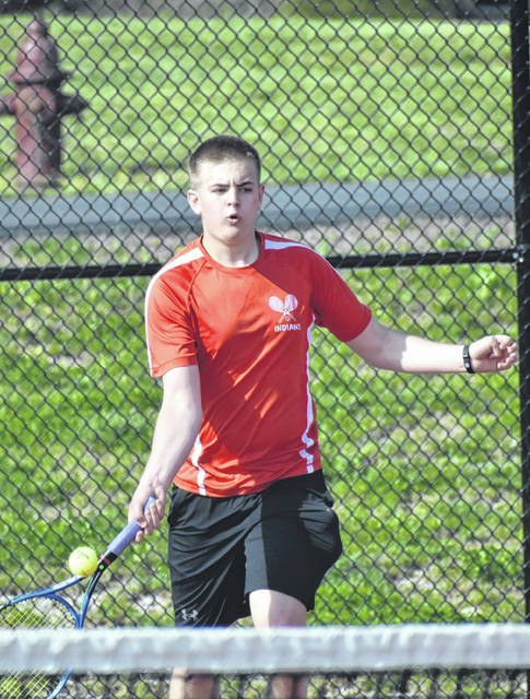 Hillsboro's Tyler Snapp competes against Chillicothe on Thursday, April 18, at Hillsboro High School's Tennis coourts where the Indians hosted their FAC rivals.