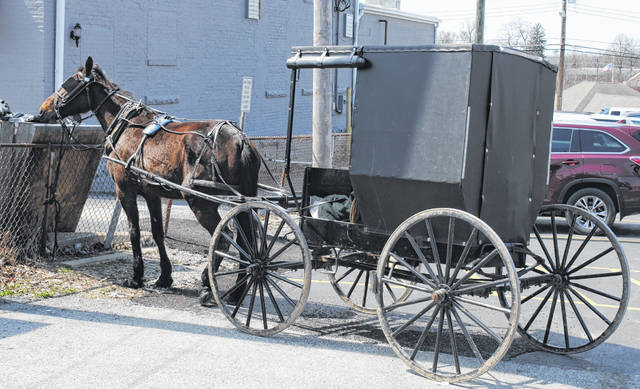 An Amish horse and buggy are shown at the county parking lot behind the Hillsboro Eagles lodge on a sunny Thursday afternoon.