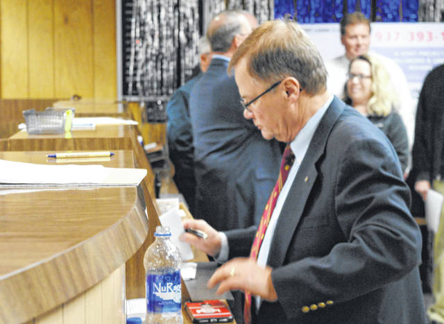 Judge Rocky Coss keeps the books at the 2019 Ernie Blankenship Radio-Telethon for the benefit of the Highland County Society for Children and Adults.