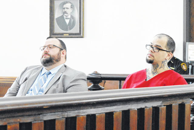 Tyler Trent, right, is shown in Highland County Common Pleas Court on Wednesday with attorney Anthony Baker.