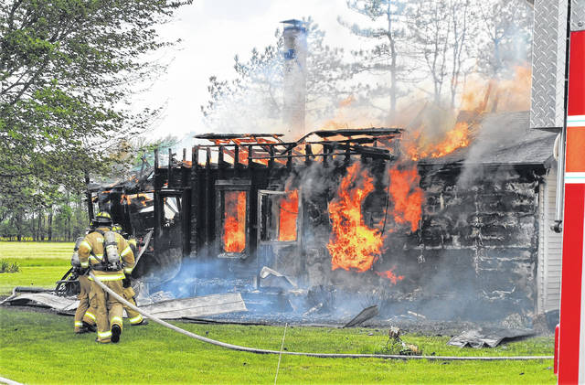 Firefighters from Hillsboro, Sardinia and Lynchburg were quickly on the scene of a house fire Wednesday afternoon on SR 138 at Landess Road. The renter of the home told The Times-Gazette that she normally takes a nap at that time of the day, but decided to mow her yard instead.