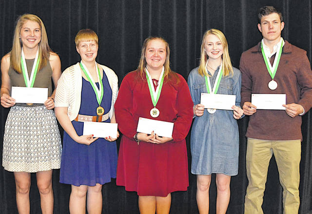Awardees for the Highland County 4-H Endowment Scholarship were, from left, Bryn Karnes, Lana Grover, Lauren Grover, Larkyn Parry and Logan Cummings. Not pictured is Kelsey Arnett.