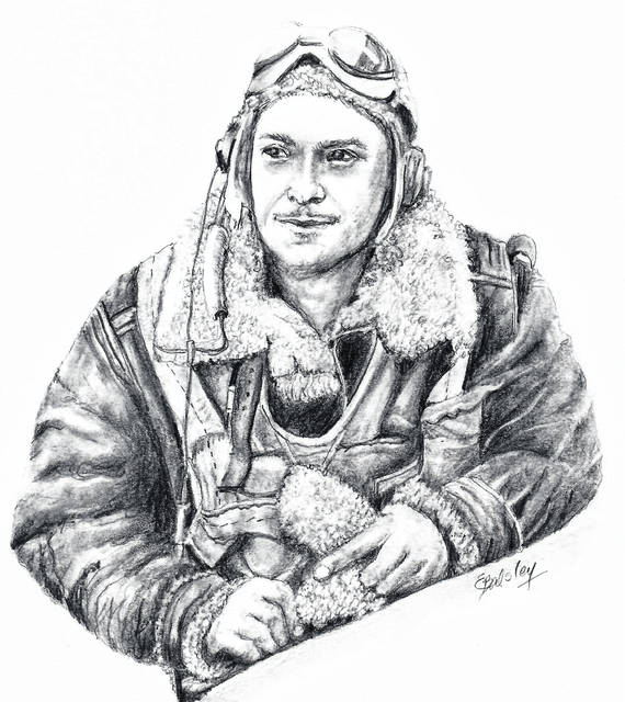 "This is Elaine Balsley's original sketch of an uncle she never knew, William James ""Billy"" McQuoid Jr., a tail gunner on a B-17 bomber who was killed on his final mission when his plane was shot down by enemy aircraft over Germany in 1944."