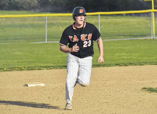 In this Times-Gazette file photo form Thursday, April 18, Whiteoak's Evan Brill runs between second and third base against the Lynchburg-Clay Mustangs at Lynchburg-Clay High School.
