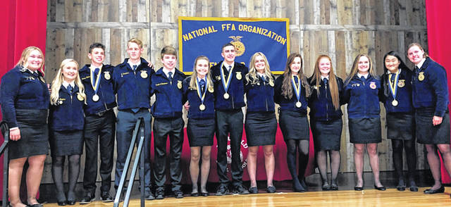 The 2019-2020 Fairfield FFA officer team is pictured, from left, Bre Flint, Alexis Tompkins, Reese Teeters, Ethan Saunders, Brayden Zimmerman, Kiley Lamb, Kohler Bartley, Harley Flint, Kylie Fauber, Allyce McBee, Ally Davis, Sophie Young and Paige Teeters.