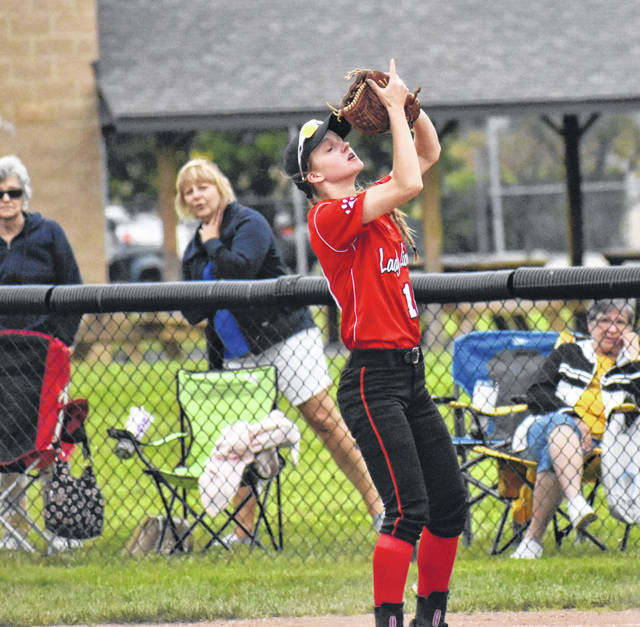 In this Times-Gazette file photo from Saturday, May 18, Fairfield Freshman Halle Hamilton catches a fly ball at second base against Wheelersburg. Hamilton drove in two runs and scored the winning run in the top of the seventh inning Wednesday at Lancaster High School where the Lady Lions took on the Ironton Lady Tigers in the D III Regional Semi-Final matchup.