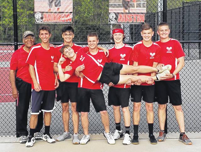 The Hillsboro varsity boys Tennis team won it's first ever Frontier Athletic Conference Championship with an undefeated 11-0 league record. Pictured here is the team following its final league win. Pictured (l-r): Head Coach LaRue Turner, Andrew Gunderman, Creed Mullenix, Austin Pendell, Gabe Gilliland, Ethan Snapp, Junior Tyler Snapp and being held is Gabe Adkins.