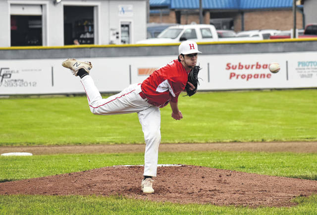 Hillsboro starting pitcher Luke Magulac throws a pitch on Monday at Shaffer Park in Hillsboro where the Indians hosted the Fairfield Union Falcons in the 2019 Southeast District Sectional Tournament.