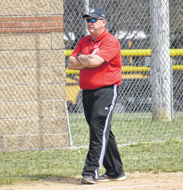 Fairfield Softball Head Coach Mark Dettwiller, shown in the Times-Gazette file photo from April 6, was selected as the SHAC Softball Coach of the Year for 2019.