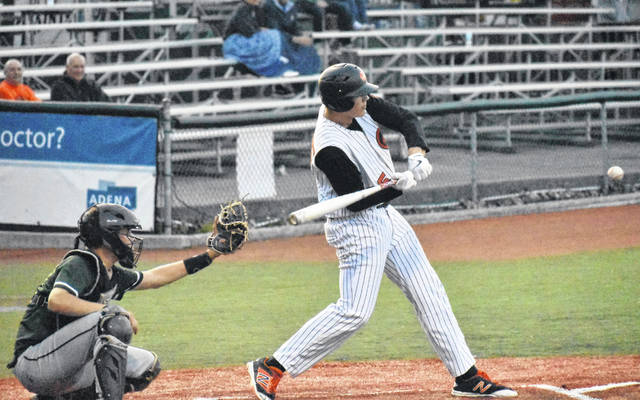 Whiteoak's Mason Lehr swings at a pitch on Monday at the VA Memorial Stadium in Chillicothe where Whiteoak's Wildcats took on Waterford's Wildcats in a Southeast District Semi-Final game that saw Whiteoak earn a 9-0 win.