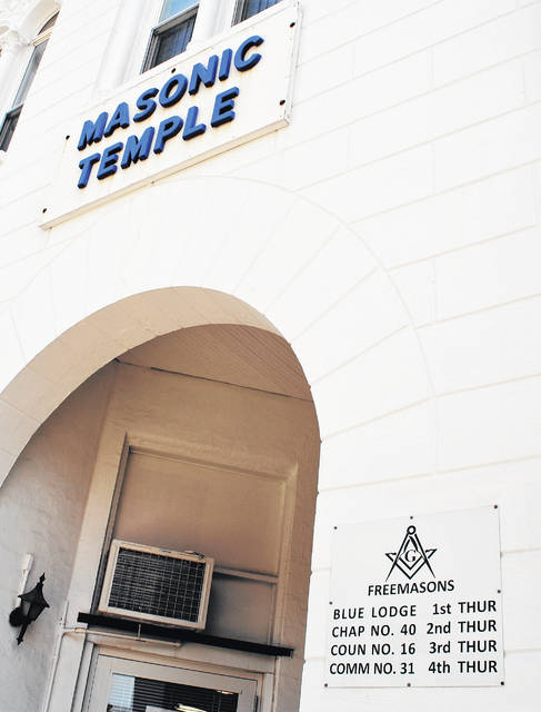 The entrance to the Masonic Temple of Highland Lodge 38 Free and Accepted Masons in Hillsboro, where the fraternal organization will observe its bicentennial during a reconsecration ceremony Saturday, is shown in this picture.