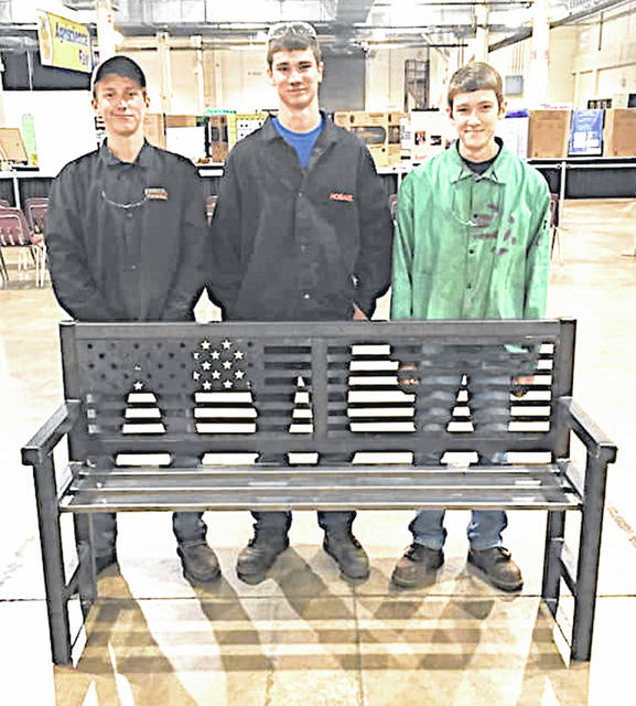 The McClain FFA ag mechanics team traveled to the Ohio State FFA Convention to compete at the state level. The team consisted of Eric Anderson, Memphis Beatty and Eli Johnson. The team was required to design and build a metal bench that was cut out with the chapter's plasma cutter, create a portfolio, and take a written exam. This year the team placed 11th. Pictured, from left, are Beatty, Anderson and Johnson.