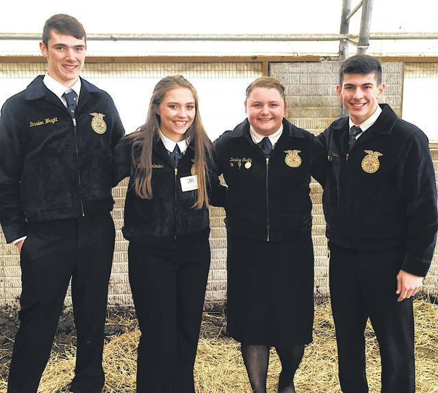 The McClain FFA general livestock judging team competed at the state finals competition. The team was required to judge several classes of cattle, sheep, goats and pigs and prepare reasons for the classes. The general livestock team made up of Destiny Trefz, Blythe Bolender, Ethan Cockerill and Braden Wright placed 10th out of 176 teams. Wright placed 26th out of approximately 1,000 participants. Cockerill placed 31st, Trefz received 38th and Bolender placed 43rd. This is the fifth year in a row that the McClain FFA chapter has had a team in the general livestock finals. Pictured, from left, are Wright, Bolener, Trefz and Cockerill.
