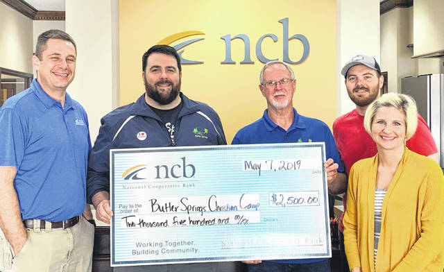 NCB recently donated $2,500 to Butler Springs Christian Camp. More than 8,000 people visit the camp and retreat center each year. Pictured are NCB's Dave Smith, Butler Springs staff Chris Osborne, Keith Warner and Matt James, and NCB's Mary Alice Hartley.