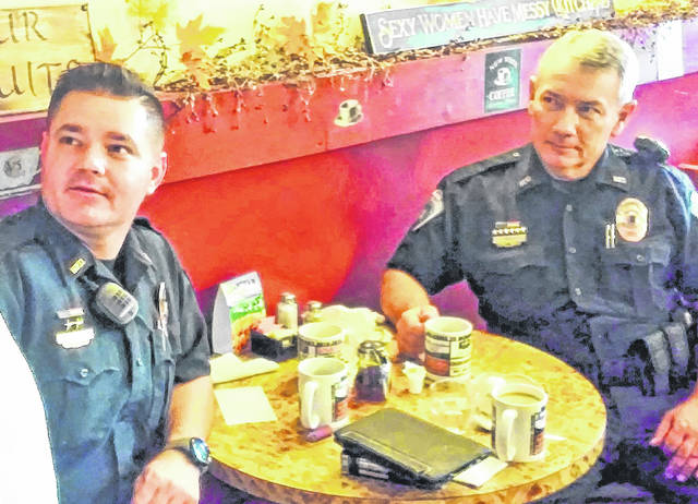 Hillsboro police officers Shawn Kelley, left, and Tim Bell are pictured at a January 2018 Coffee with a Cop event at Momma's West Main Cafe.