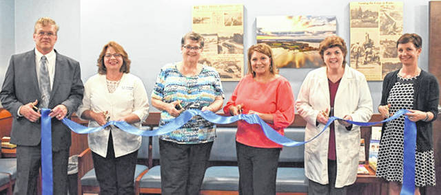Pictured, from left, are Randal Lennartz, president and CEO of Highland District Hospital and Highland County Chamber of Commerce president; Marsha Mitchell, APRN-CNP; Barbara Yochum, Highland District Hospital Board of Governors president; India Chrisman-Williams, Highland Health Providers Board of Governors president; Pam Knisley, APRN-CNP; and Amanda Warix, Highland Health Providers executive director.