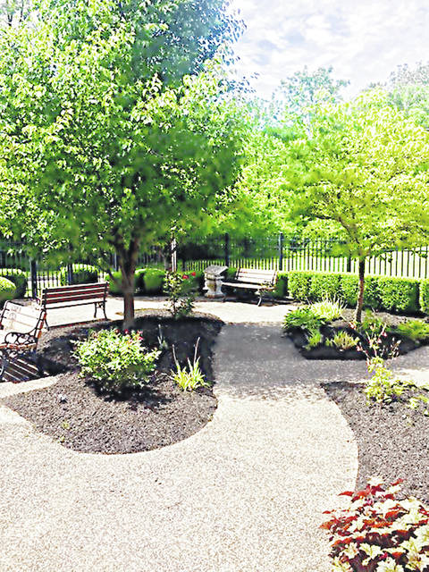 This is a picture of the reading garden at the Greenfield Branch Library.