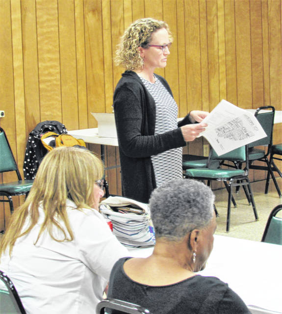 Speaking before a crowd at the Highland County Senior Citizens Center in Hillsboro, Ohio Department of Insurance Public Information Officer Rebecca Hayward shared important information on Medicare, supplements and advantage plans.