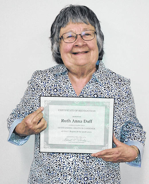 Ruth Anna Duff is pictured with her outstanding amateur gardener award.