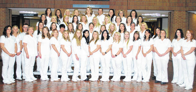 The newest graduates of the Associate Degree Nursing program at Southern State Community College include (first row, l-r) Marjorie Johnson, Brooke Rose, Garrett Lennon, Stephanie Malicoat, Virginia Schappacher, Kelli Simmons, Bailey Countryman, Tessa Newman, Claudia Robinson, Leslie Ramp, Jennifer Looney, Payton Price, Ashley Stewart, Tracy Boler, Cheyenne Orth, Courtney Law, Jillian Ryan, Julia Clark, Catherine Beach; (second row, l-r) Lindsey Jackson, Brandy Young, Wanda Wisecup, Mary Wilburn, Autumn Beatty, Jill Burns, Katherine VanDyke, Katelyn Enders, Cameryn Kain, Candace Gilletly, Karen Longtin; (third row, l-r) Courtney Martus, Jamie Lucas, Heather Pittman, Breanna Lengefeld, Alice Whitton, Angela Foreman, Kristina Legg, Katherine Clements, Mary Harney, Amanda Thurman; (fourth row, l-r) Lindsay Jodrey, Katy Jones, Brittany Bauer, Michele Teboe, Kelsey Mell, Kevin Mitchell, Veronica Wooton, Sara Scholl, Lisa Brown.