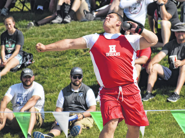 Hillsboro Junior Draven Stodgel makes a throw during the OHSAA Boys D II Shot Put on Friday at the State Track and Field Championships on the campus of Ohio State University. Stodgel finished ninth in D II with a throw of 52 feet four inches.
