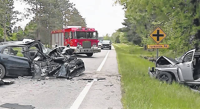 The wreckage following a two-car double fatality that claimed the life of a Hillsboro man and a Clarksville woman Thursday afternoon near Clarksville is shown in this picture.
