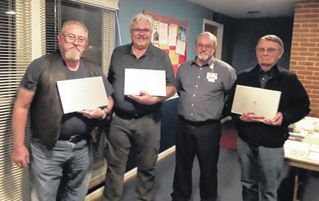 Pictured, from left, are Mike Boyle of the Clinton County Amateur Radio Emergency Service; Paul Jellison, president of the Clinton County Amateur Radio Association; Mark Atwell, Clinton Memorial Hospital IT Services director; and Jim Hause, president of the Highland Amateur Radio Association.