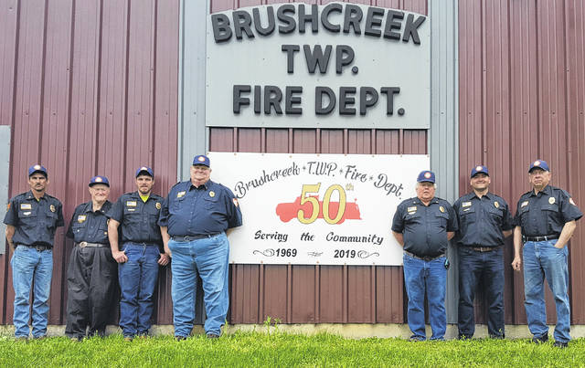 Members of the Brushcreek Township Volunteer Fire Department are, from left, Chris Wisecup, Larry Parker, Jon Graham, Chief Mike Matheney, Dave Cruea, Mike Chamblin and Danny McBee.