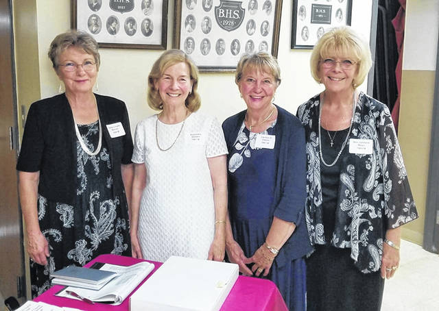 The 2019 alumni officers: Kathy Crusie Mincey, Treasurer; Rosemary Stewart, Vice President; Carolyn Shumaker Owens, Secretary; and Bev Johnson Mayo, President.