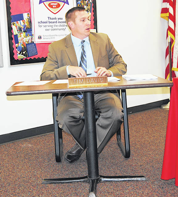 Superintendent Tim Davis speaks to board members during Monday's Hillsboro Board of Education meeting.