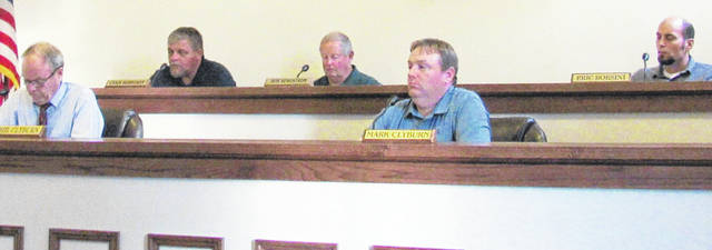 Greenfield council members, from left, Phil Clyburn, Chris Borreson, Bob Bergstrom, Mark Clyburn and Eric Borsini are pictured during this week's meeting.