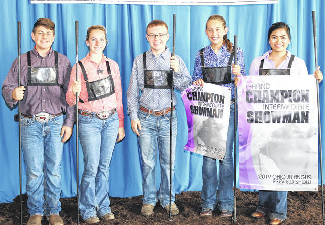 These junior Angus members won top honors in intermediate showmanship at the 2019 Ohio Angus Association Junior Preview Show, June 2 in Caldwell, Ohio. Pictured, from left, are Isaac Miley, Sarahsville, fifth; Caroline Winter, Ashville, fourth; Jacob LeBrun, Lucasville, third; Sydney Sanders, Leesburg, reserve champion; and Kristina Scheurman, Warsaw, champion. Photo by Alex Tolbert, American Angus Association.
