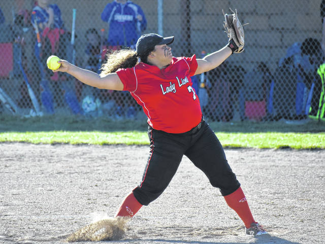 In this Times-Gazette file photo Fairfield graduate Kaiti White is seen throwing a pitch against SHAC rival the Peebles Lady Indians. White was selected to the Ohio Softball Coaches Association All-Ohio First Team as a pitcher from the Southeast District.