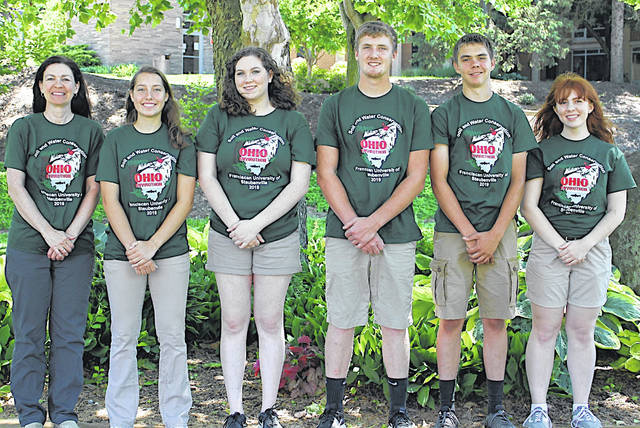 The Lynchburg-Clay Mustang team placed fourth in State Envirothon. Pictured, from left, are coach Lara Hamilton, Allison Kohus, Kara Williams, Kurt Hamilton, Austin Leininger and Leah Bauer.