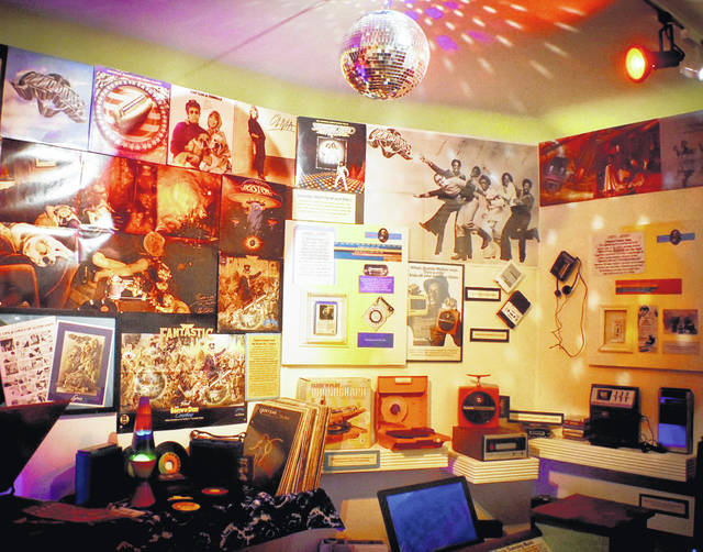 The modern era room of the museum showcases music and recording equipment from the '70s to 2000s.
