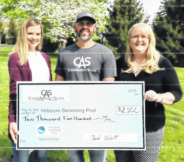 Chad Abbott Signs (CAS) recently donated $2,500 to the Hillsboro Swim Club capital campaign. Pictured, from left, are Ashley Marler, pool board vice president; Chad Abbott, owner of CAS; and Kelly Smith, Team Bagshaw/campaign coordinator.
