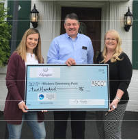 The Edgington Funeral Homes recently donated $500 to the Hillsboro Swim Club capital campaign. Pictured, from left, are Ashley Marler, pool board vice president; Craig Edgington and Kelly Smith, Team Bagshaw/campaign coordinator.