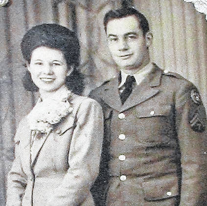 Bob and Rita Morrison are shown on their wedding day, Feb. 26, 1943. The following year, Morrison landed on the beaches of Normandy two weeks after the D-day invasion.