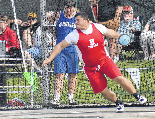 Hillsboro's Draven Stodgel competed in his second event at the 2019 OHSAA State Track and Field Championships on Saturday when he took eighth place in the D II Boys Discus Throw. Stodgel took ninth in the D II Boys Shot Put Final on Friday.