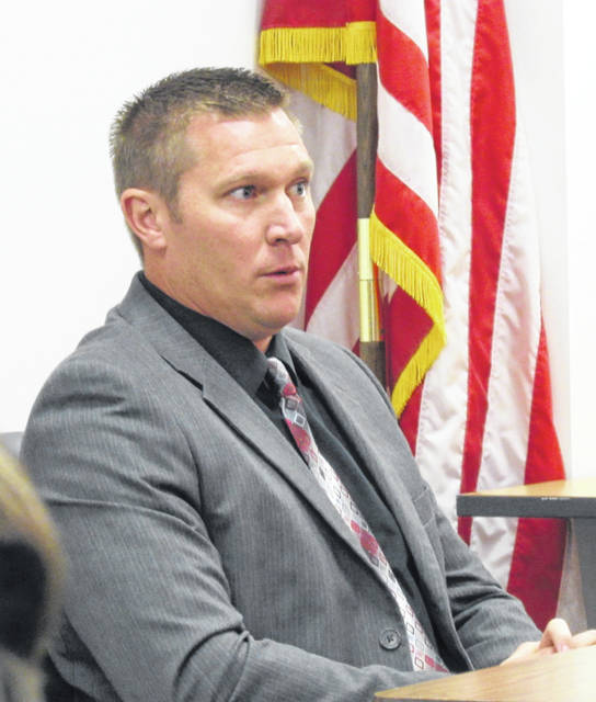 Hillsboro Superintendent Tim Davis is shown during testimony Tuesday at the termination appeal hearing of Choral Director David White.