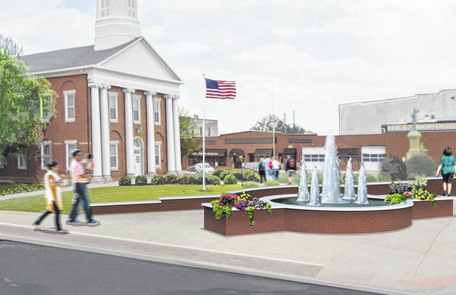 This is artist's concept of the new fountain slated for construction on the courthouse square in Hillsboro.