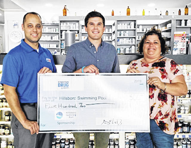 Downtown Drug recently donated $500 to the Hillsboro Swim Club Capital campaign. Pictured, from left, are Marcus Barr, Downtown Drug ownerl Dane Allard, PharmD Pharmacy manager; and Jennifer Howland, pool board treasurer.