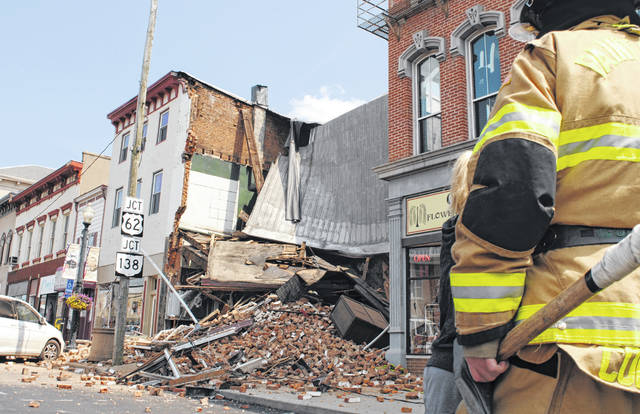 This building at 119 W. Main St. collapsed Monday. No injuries were immediately reported.