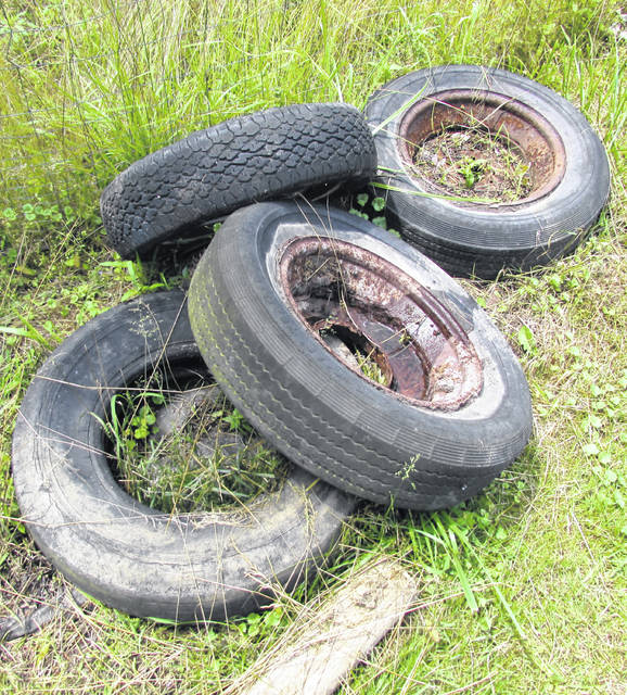 Old tires like these will be accepted, on the rim or not, at the Highland County Community Action Organization tire and electronics recycling event Saturday. It will be from 8 a.m. to noon at 1487 N. High St. in Hillsboro.