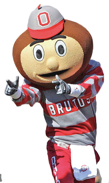 Ohio State's Brutus Buckete cheers during an NCAA college football game against Indiana, Saturday, Oct. 9, 2010, in Columbus, Ohio. (AP Photo/Jay LaPrete)