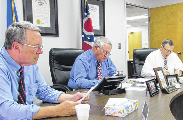 Left to right, Highland County commissioners Gary Abernathy, Jeff Duncan and Terry Britton are pictured during Wednesday's regularly scheduled meeting.
