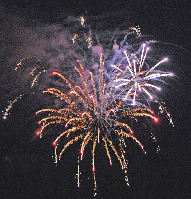Fireworks explode above Hillsboro last year from a display launched at the Highland County Fairgrounds.