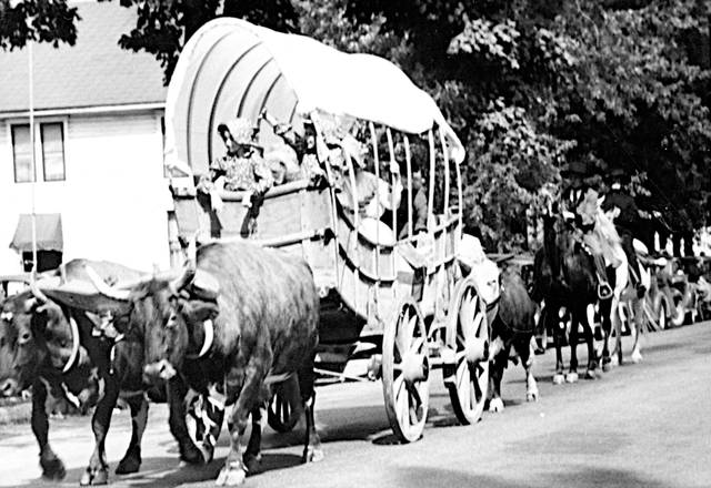 The Greenfield Historical Society's Wilson Conestoga wagon is shown as it appeared in the Greenfield Sesquicentennial Parade in 1949.